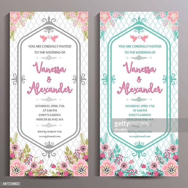 wedding invitation. two floral vertical cards, size is 10x21 cm - wedding invitation stock illustrations, clip art, cartoons, & icons
