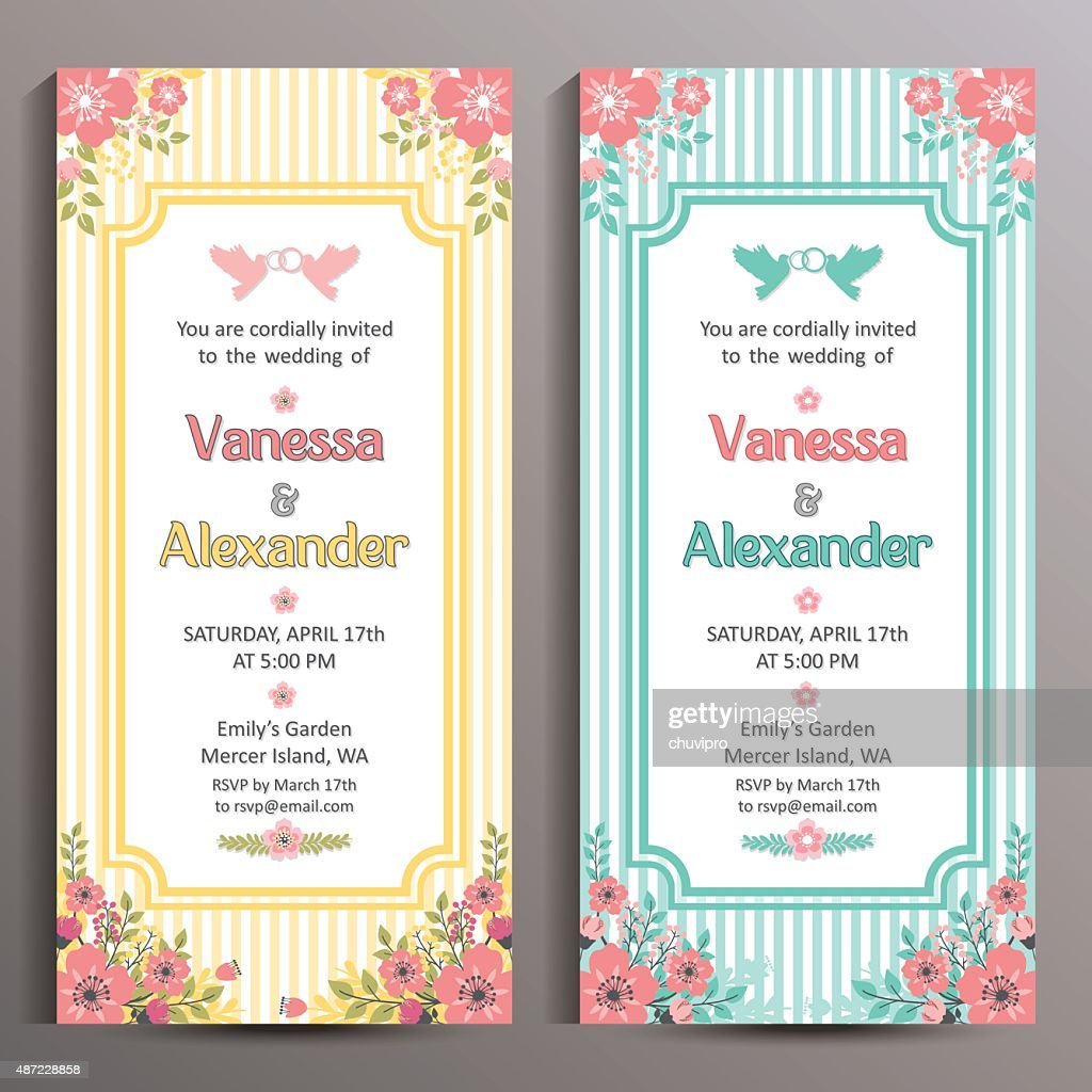 wedding invitation two floral vertical cards size is 10x21 cm vector