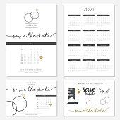 Wedding invitation vector 2021 calendar design