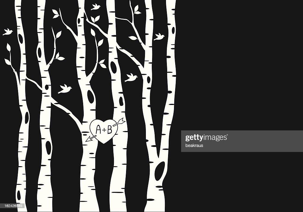 wedding invitation with birch trees, vector