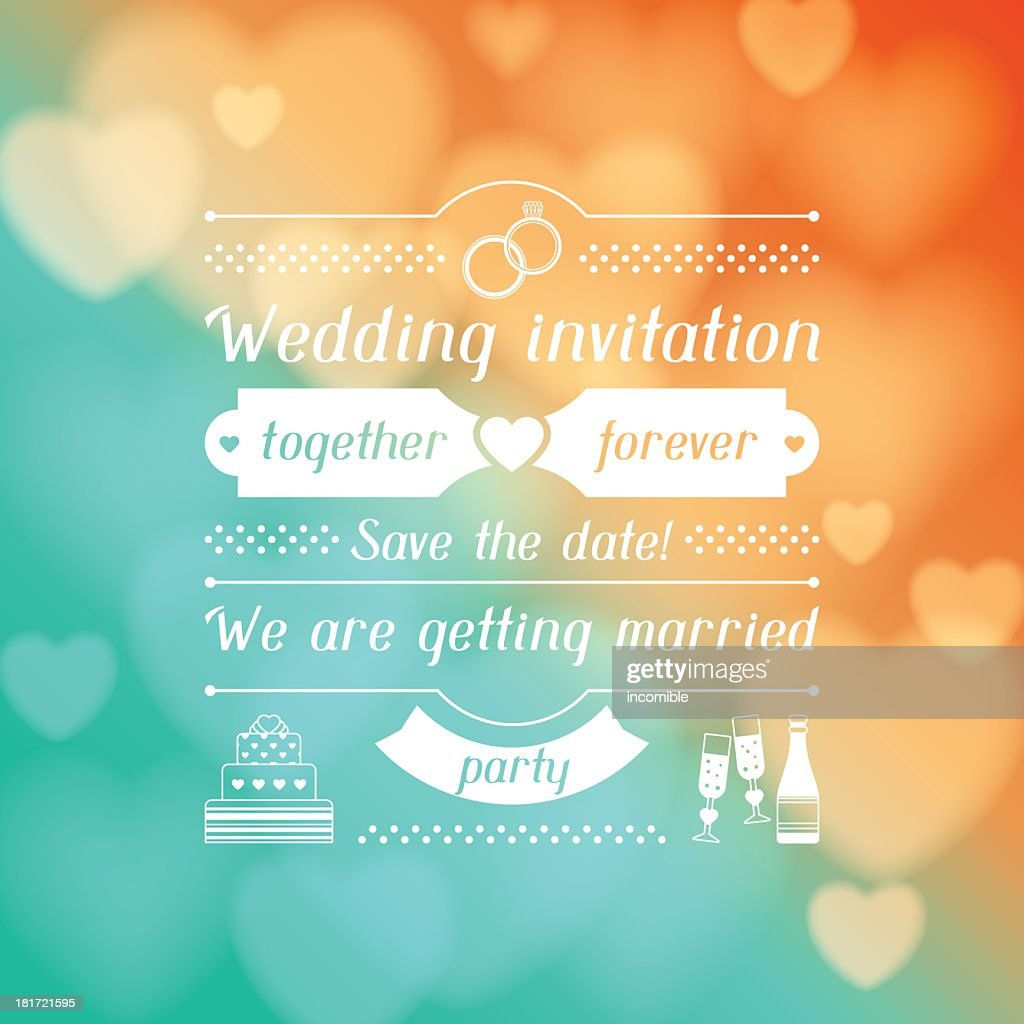 Wedding invitation with blurred colored lights