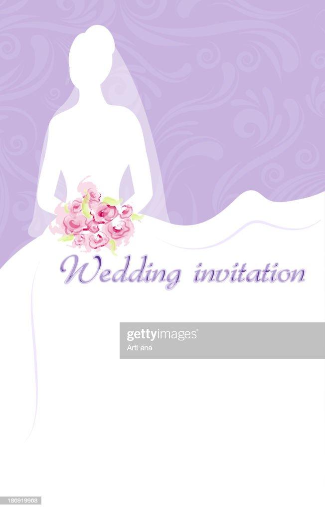 Wedding invitation with bride