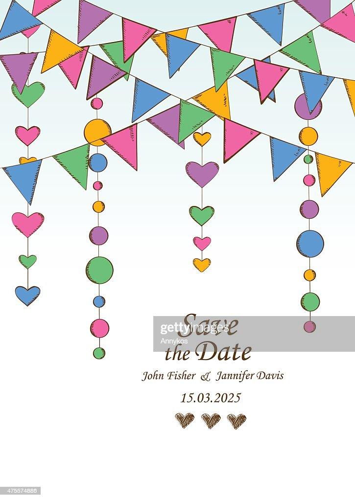 Schön Hochzeit Einladung Mit Dekoration Des Hanging Girlanden. : Vektorgrafik
