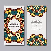 Wedding invitation with floral mandala