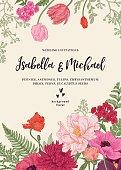 Wedding invitation with flowers.