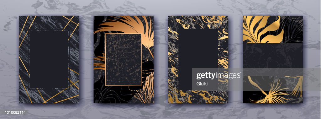 Wedding invitation with Gold palm leaves, black marble template.