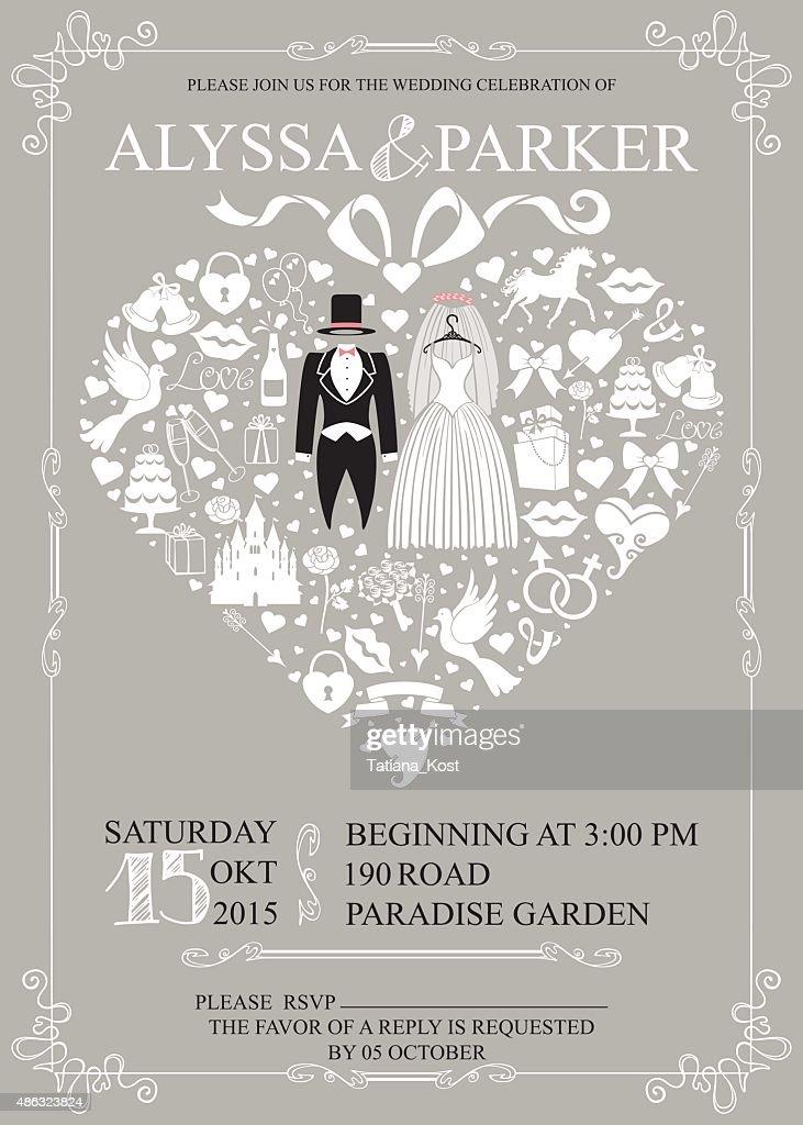 Wedding invitation with heart composition.Wedding wear