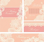 Wedding invitation with lace flowers.