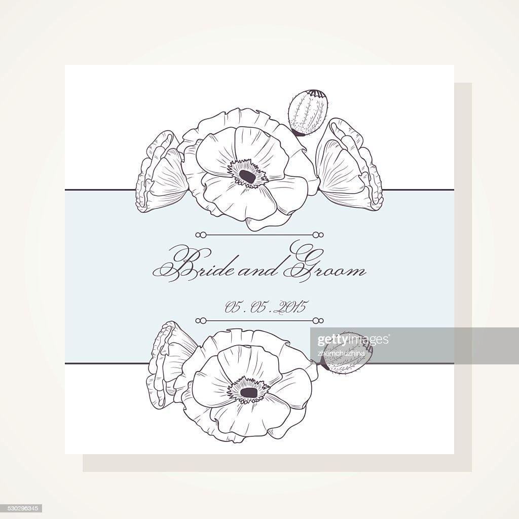Wedding invitation with outline poppies vector art getty images wedding invitation with outline poppies vector art stopboris Gallery