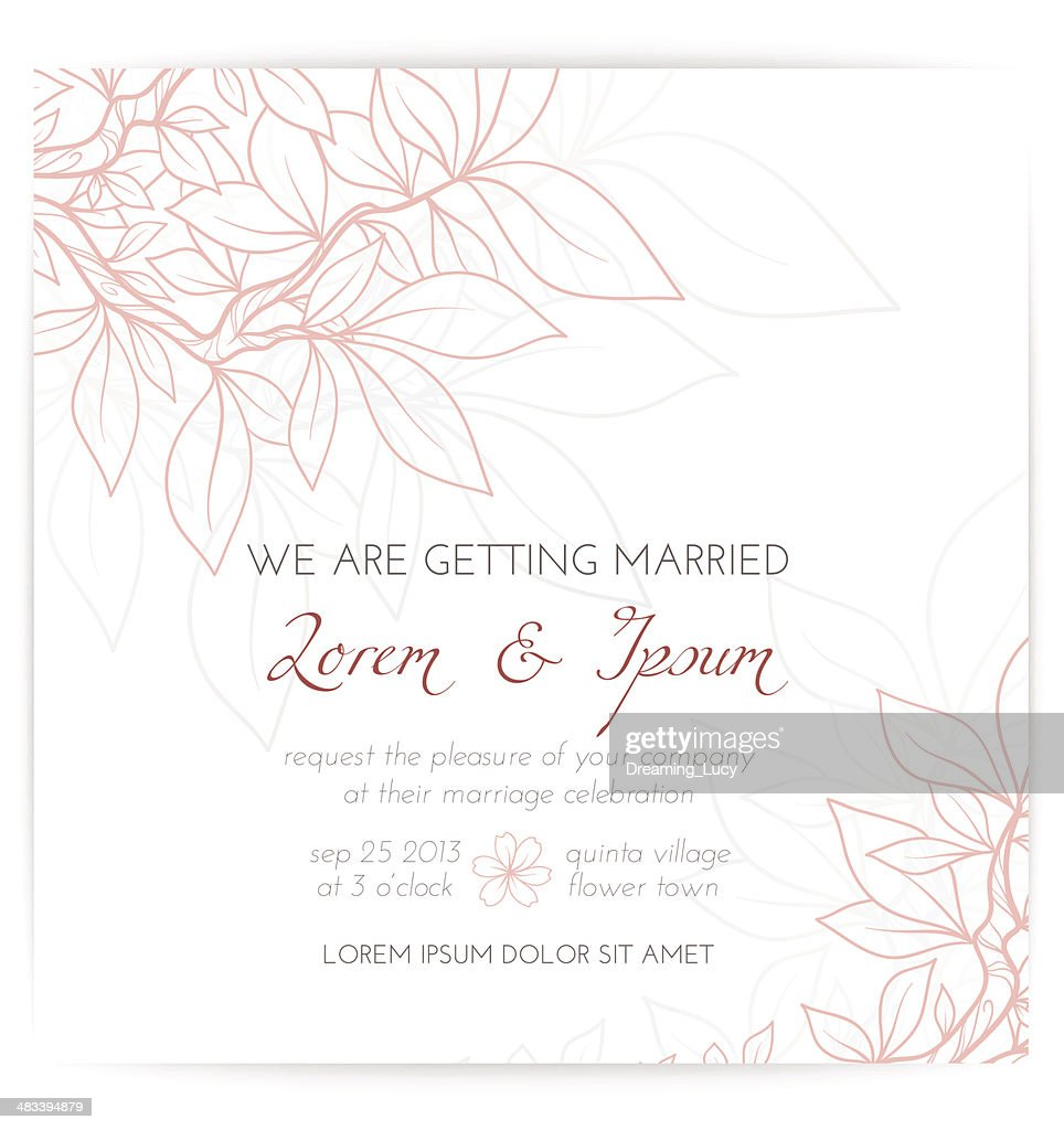Wedding invitation with pink leaves