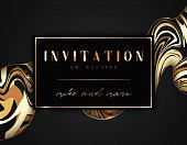 Wedding invitations vintage, golden frame, retro texture.