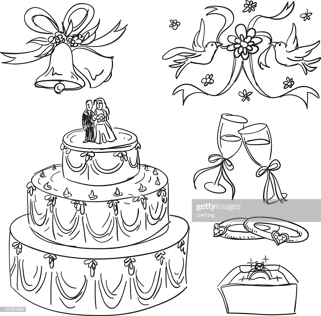 Wedding items collection in sketch style
