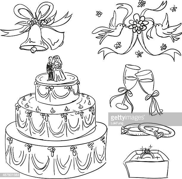 wedding items collection in sketch style - wedding cake stock illustrations