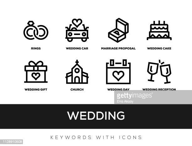 wedding keywords with icons - wedding cake stock illustrations