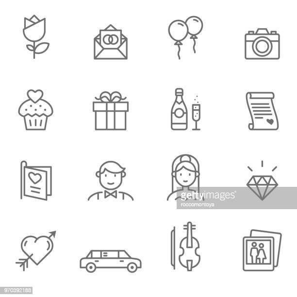 wedding line icons - illustration - boyfriend stock illustrations, clip art, cartoons, & icons