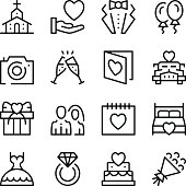 Wedding line icons set. Modern graphic design concepts, simple outline elements collection. Vector line icons