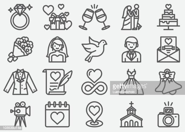 wedding line icons - honeymoon stock illustrations, clip art, cartoons, & icons