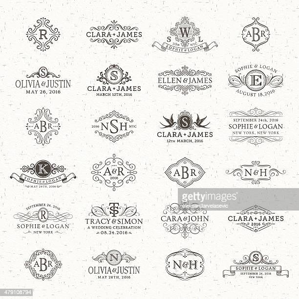 wedding logos and monograms - ornate stock illustrations, clip art, cartoons, & icons