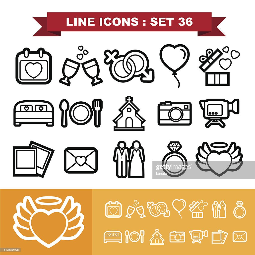Wedding love Line icons set 36