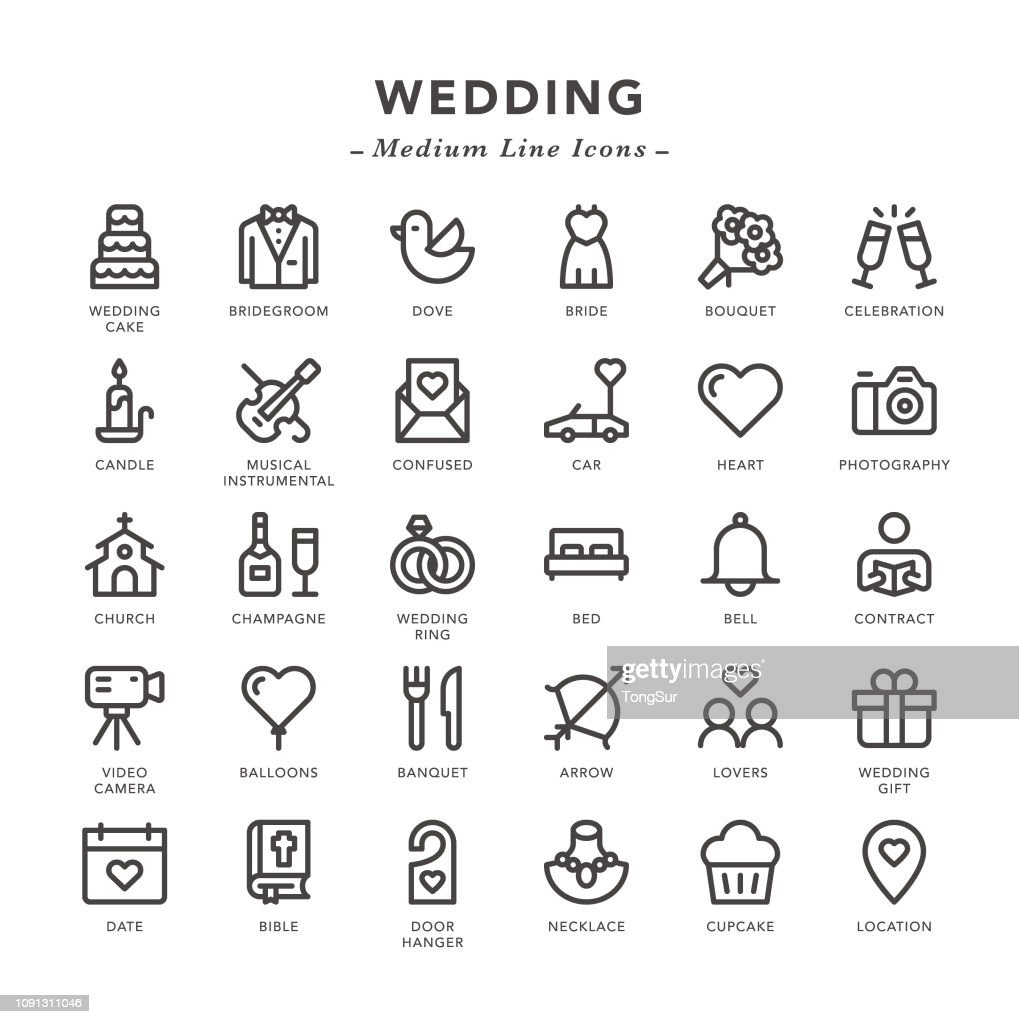 Wedding - Medium Line Icons : stock illustration