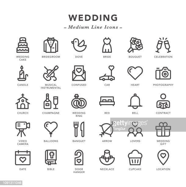 ilustrações, clipart, desenhos animados e ícones de casamento - ícones de linha média - composição