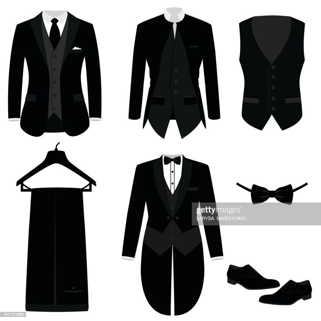 Wedding men's suit with shoes, tuxedo.