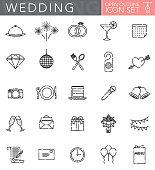 Wedding Open Outline Icon Set