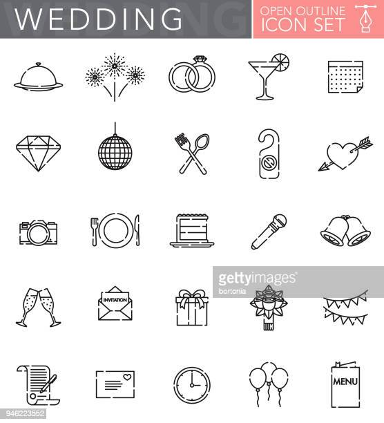 Wedding Open Outline Icon Set