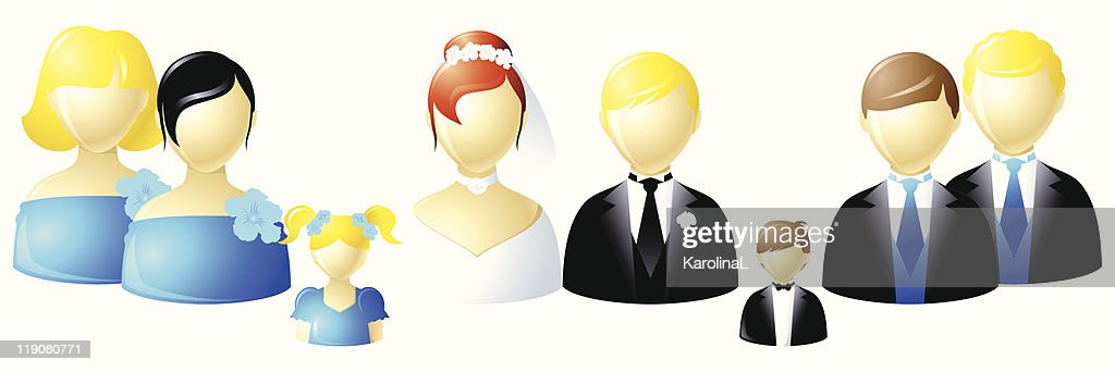 Wedding party icons - European