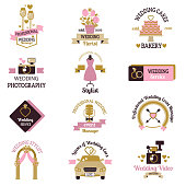 Wedding photo or event agency logo badge camera photographer vintage template vector illustration