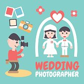 Wedding Photographer, Vector Illustration. Flat Design Elements.
