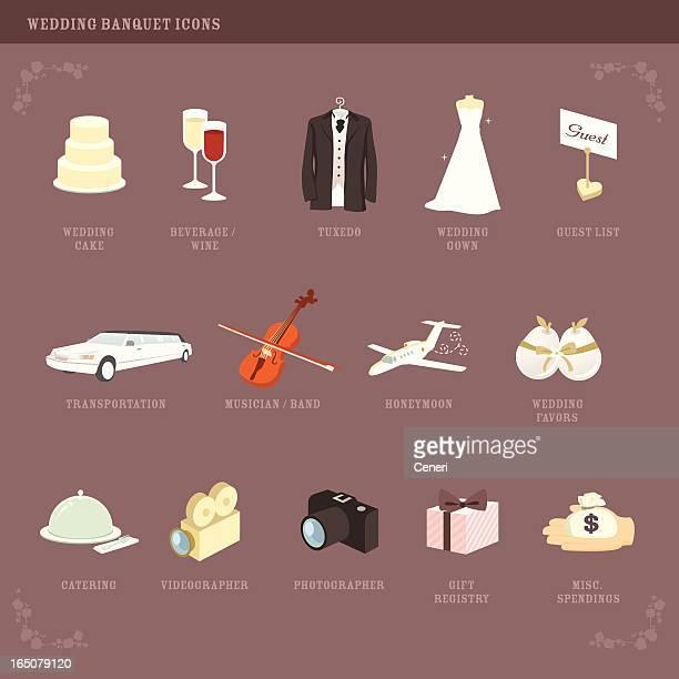 wedding planning icons (2) - money to burn stock illustrations, clip art, cartoons, & icons