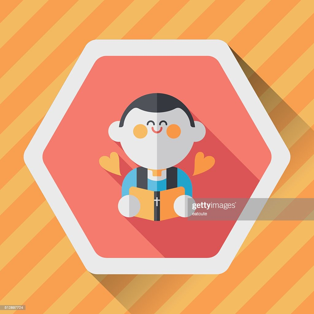 Wedding Priest Flat Icon With Long Shadow Eps10 Presiding Over Vector Art