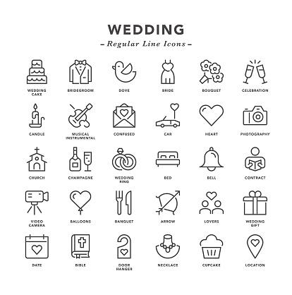 Wedding - Regular Line Icons - gettyimageskorea