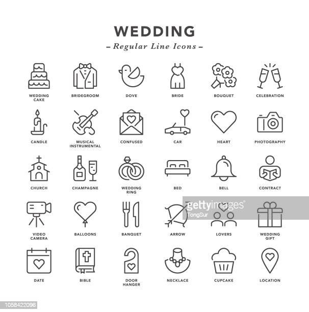 Wedding - Regular Line Icons