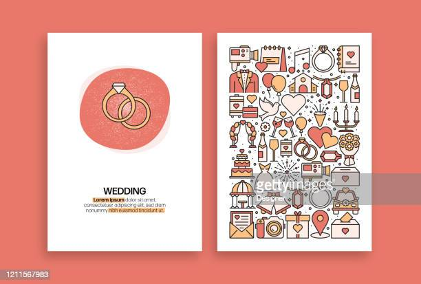 ilustraciones, imágenes clip art, dibujos animados e iconos de stock de diseño relacionado con la boda. plantillas vectoriales modernas para folleto, portada, folleto e informe anual. - anillo de compromiso