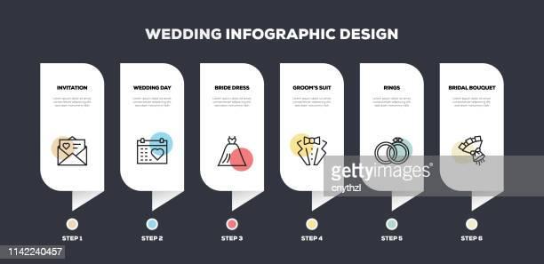 illustrazioni stock, clip art, cartoni animati e icone di tendenza di design infografico della linea legata al matrimonio - cerimonia