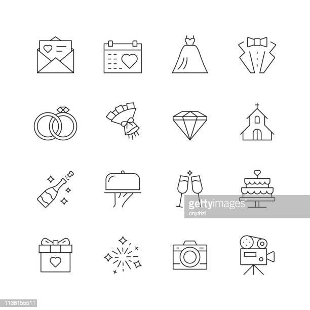 wedding related - set of thin line vector icons - ホームページ stock illustrations