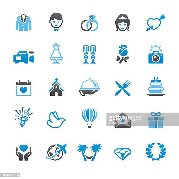 Wedding related vector icons