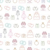 Wedding related vector seamless pattern background with outline icons 1