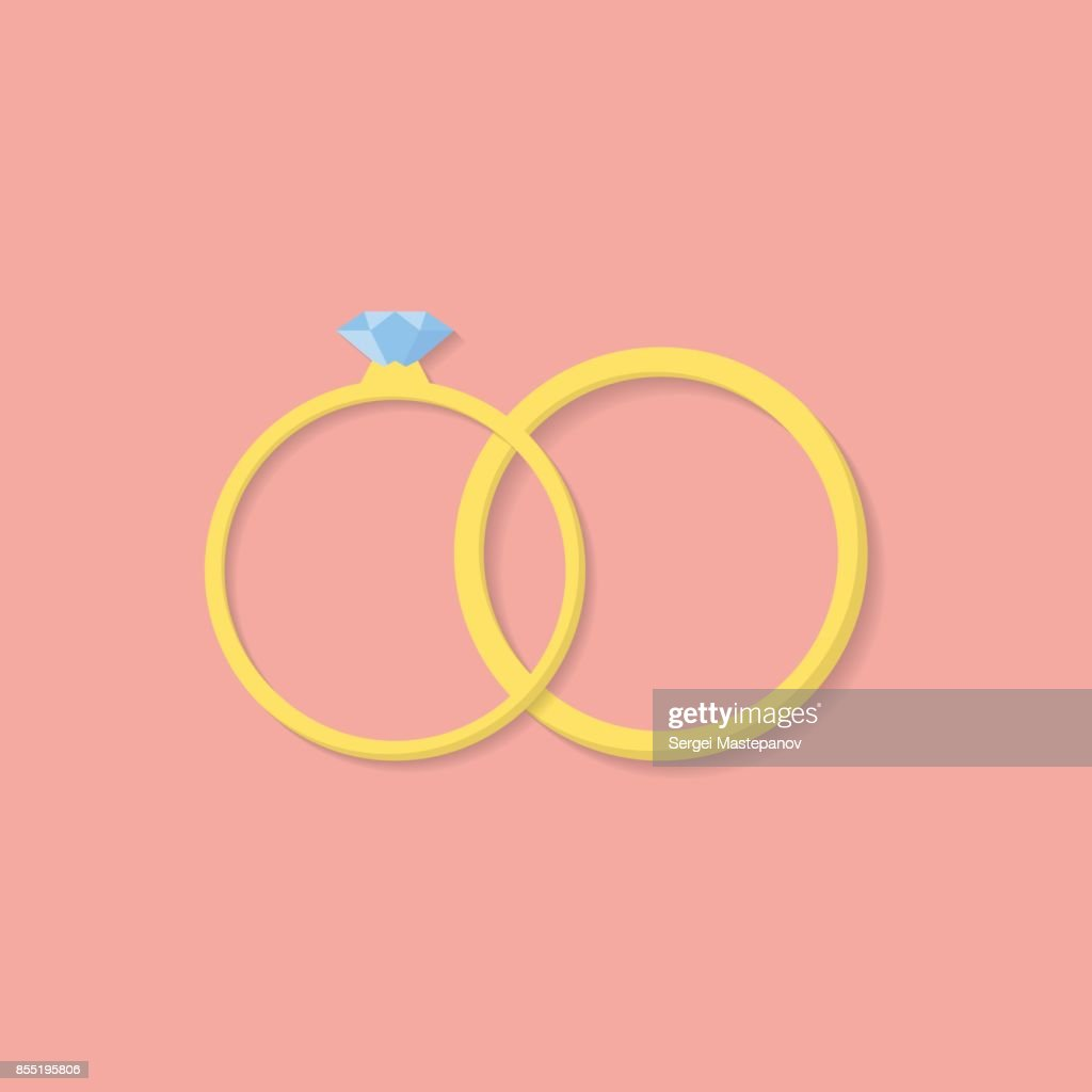 Wedding Rings Icon Flat Design Style Vector Art | Getty Images