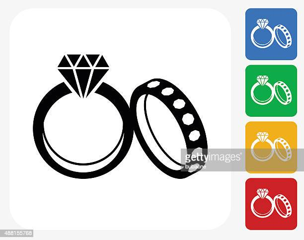 Wedding Rings Icon Flat Graphic Design