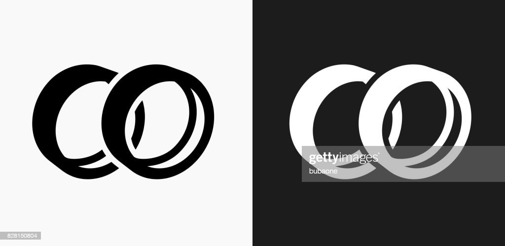 Wedding Rings Icon On Black And White Vector Backgrounds Vector Art