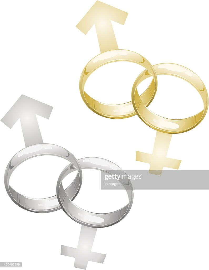 Wedding Rings Interlocked With Male And Female Symbols Vector Art