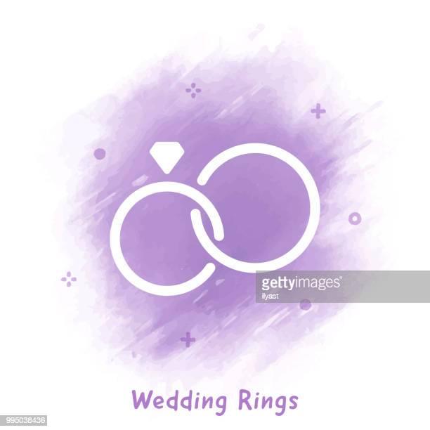 Anneaux de mariage ligne icône fond aquarelle