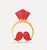 Wedding rings. Vector Illustration.