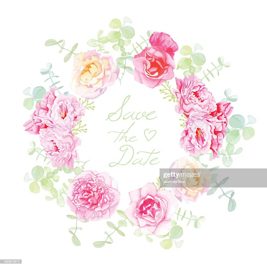 Wedding rose and peonies wreath vector card