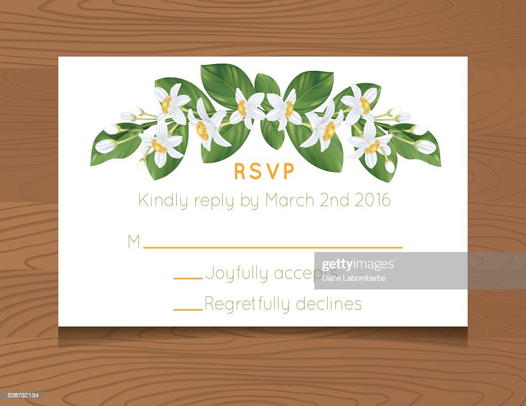 Wedding Rsvp Card Template With Oranges On Wood Background Vector - Rsvp card template