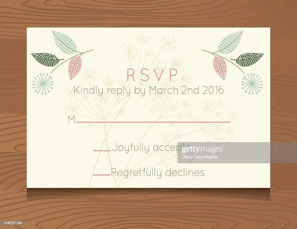 ウェディングの rsvp カードテンプレート野花木を背景にした ベクトル