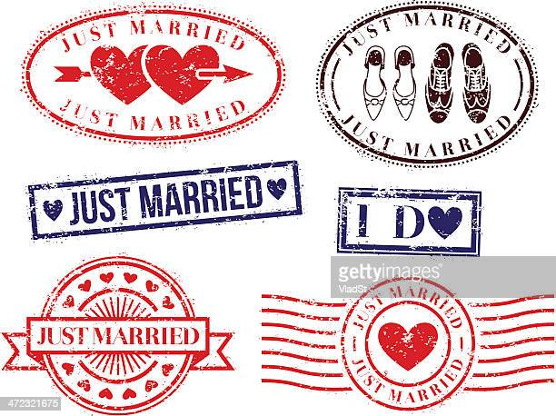 wedding rubber stamps - newlywed stock illustrations